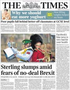 صفحه اول روزنامه تایمز/اخبار جعلی فیسبوک برای سلامت بسیار مضر است