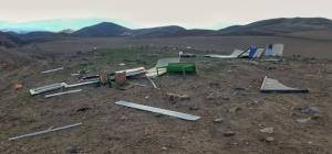 خسارت تندباد به روستای ساریلار شهرستان اهر
