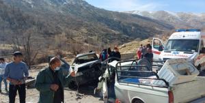 تصادف سمند و وانت در جاده یاسوج ـ دهدشت یک کشته برجای گذاشت