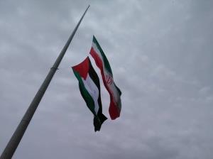 اهتزاز پرچم فلسطین در میدان بسیج زنجان