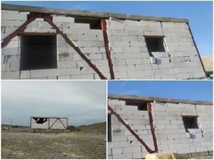 وزش باد شدید دیوار برخی خانههای بنیاد مسکن در مهرستان را تخریب کرد