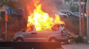 مردم فلسطین خودرو صهیونیستها را آتش زدند