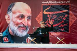 عکس/ سخنرانی سردار قآنی در مراسم چهلم سردار شهید سیدمحمد حجازی