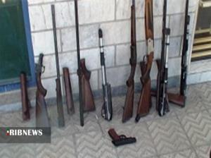 کشف ۶ قبضه سلاح شکاری و یک کلت جنگی در زنجان