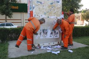 ۱۰۰ نیرو برای پاکسازی شهر سنندج از آثار تبلیغاتی بسیج شدهاند