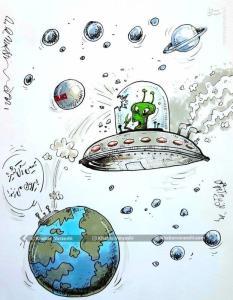کاریکاتور/ ضربه فضایی عیسی آل کثیر