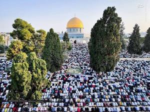 عکس/ اقامه نماز عید قربان در مسجد الاقصی