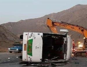 واژگونی اتوبوس در محور هراز با ۳ کشته و ۳۹ زخمی