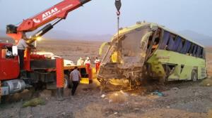 واژگونی اتوبوس تهران-یزد با یک کشته و ۳ مصدوم