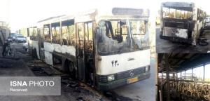 یک دستگاه اتوبوس ناوگان شهری یزد در آتش سوخت