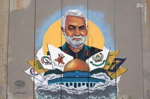 عکس/ نقاشی چهره حاج قاسم در مرز لبنان و فلسطین