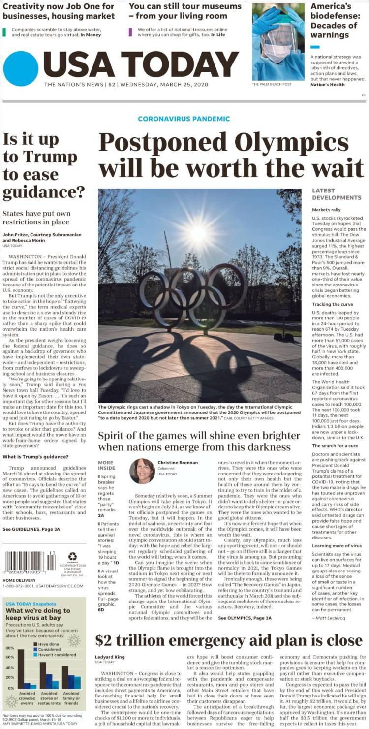 صفحه اول روزنامه یو اس ای تودی/ المپیک تعویق یافته ارزش انتظار را خواهد داشت