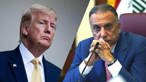 نقل قول الکاظمي از ترامپ درباره خروج نيروهاي آمريکايي از عراق