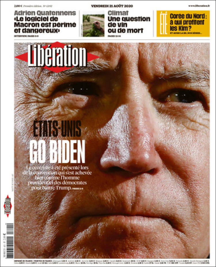 صفحه اول روزنامه لیبراسیون