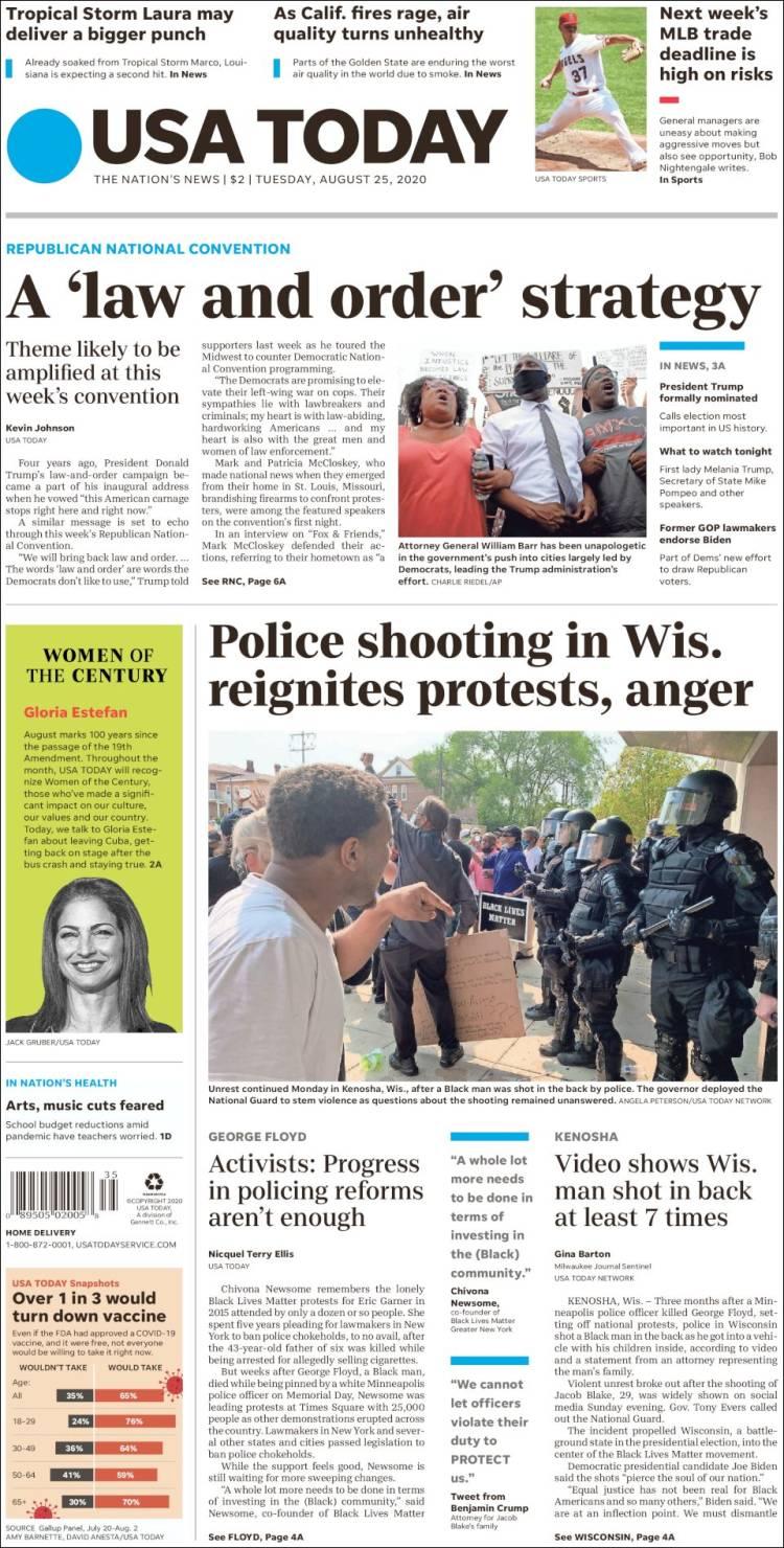 صفحه اول روزنامه یو اس ای تودی/ تیراندازی پلیس در ویسکانسین اعتراضات و خشم را دوباره شعله ور کرد