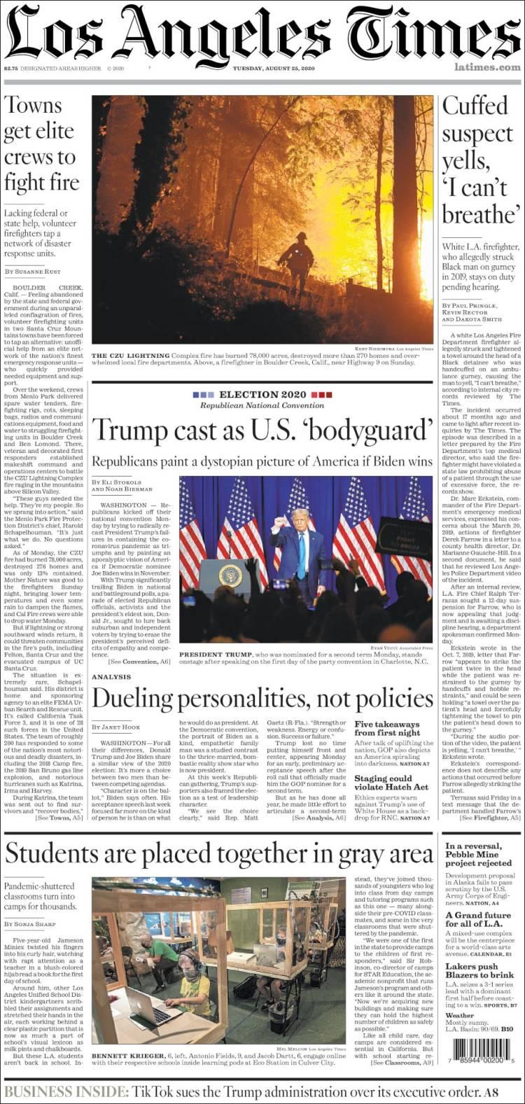 صفحه اول روزنامه لس آنجلس تایمز/ ترامپ خودش را به عنوان محافظ ایالات متحده نشان داد