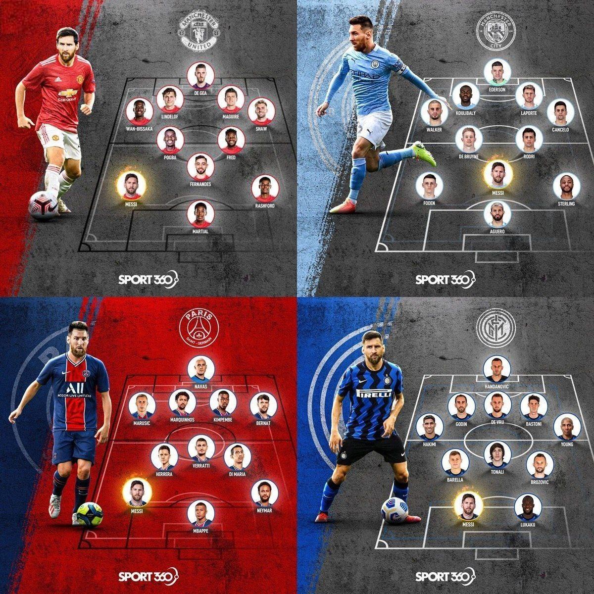 ترکیب احتمالی ۴ تیم مطرح اروپایی با حضور لیونل مسی