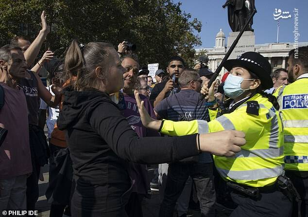 تظاهرات چند هزار نفری بدون ماسک در قلب انگلیس!