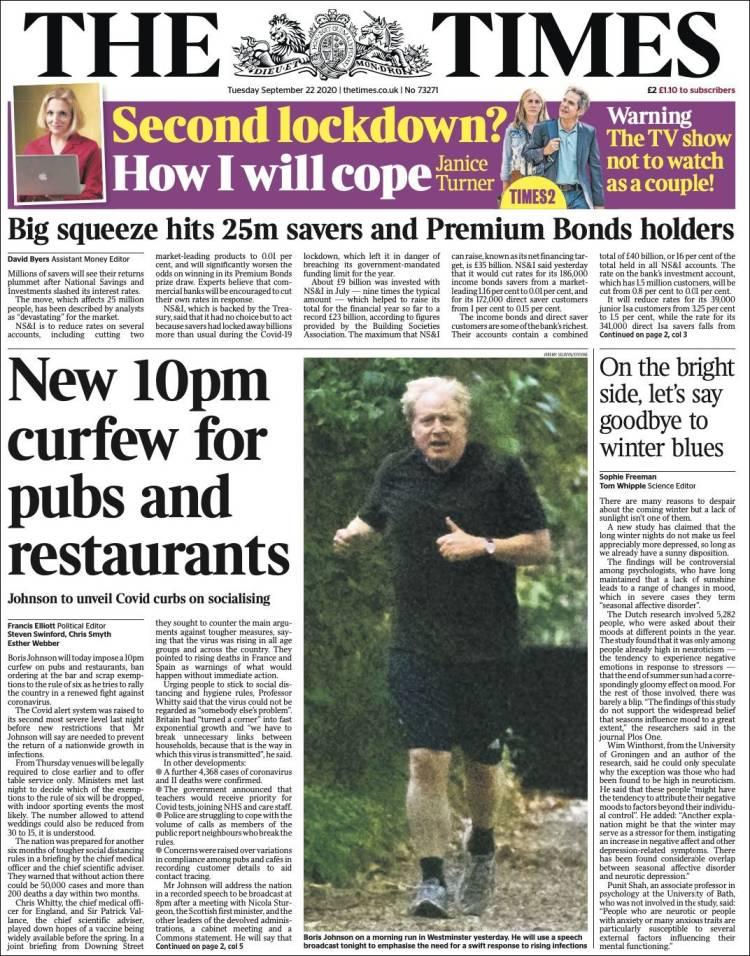 صفحه اول روزنامه تایمز/ منع کار میخانه ها و رستوران های بریتانیا از ساعت 10 بعدازظهر