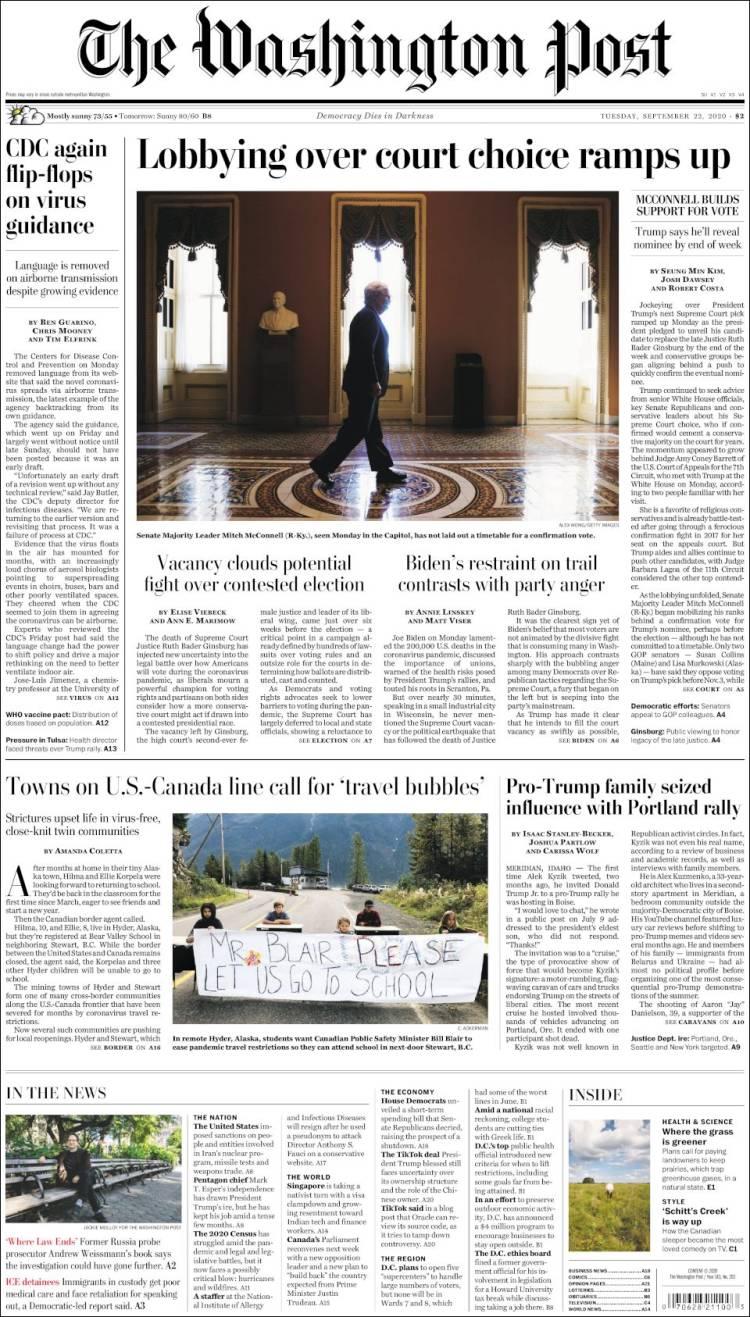 صفحه اول روزنامه واشنگتن پست/ لابی ها بر سر گزینه قاضی دیوان عالی شدت گرفت