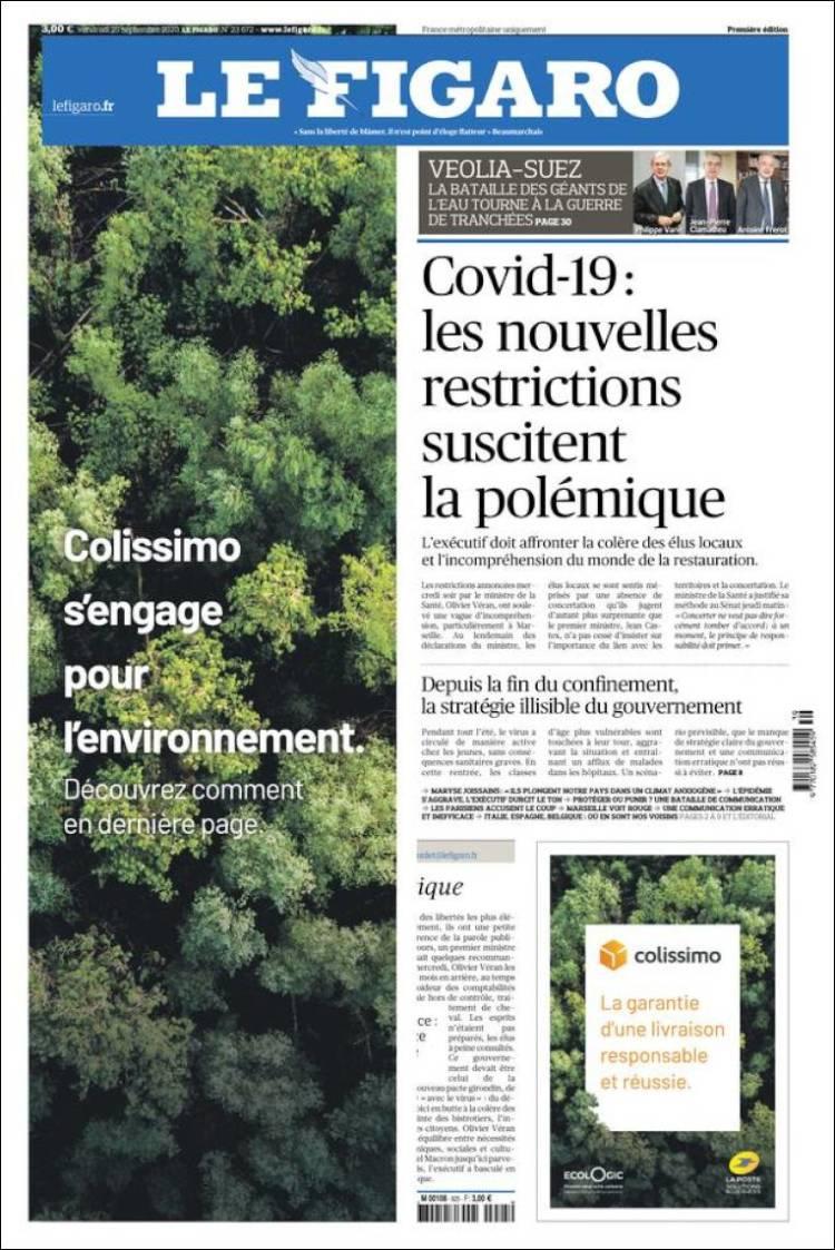 صفحه اول روزنامه فیگارو