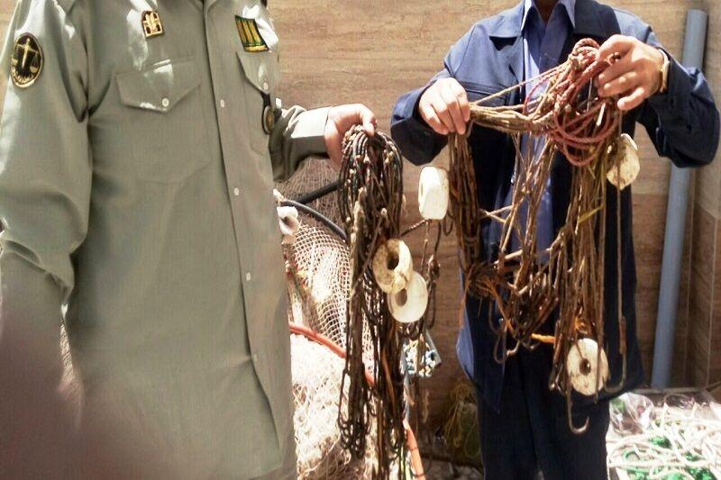 ۳۰۰ متر تور ماهیگیری غیرمجاز در تالاب کانیبرازان مهاباد کشف شد