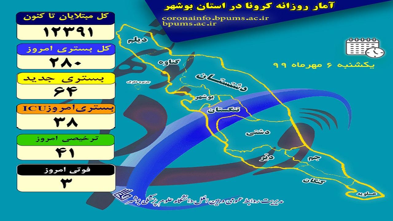 اینفوگرافی تعداد مبتلایان کرونا در استان بوشهر