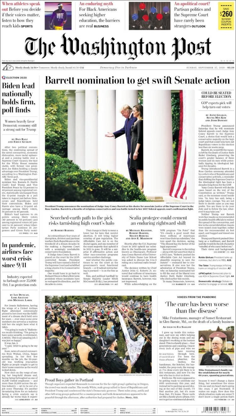 صفحه اول روزنامه واشنگتن پست/ در پاندمی خطوط هوایی با بدترین بحران از زمان یازده سپتامبر روبرو هستند
