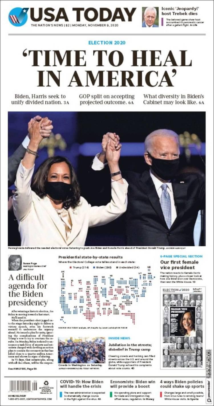 صفحه اول روزنامه یو اس ای تودی/ زمانِ بهبود زخم های آمریکا