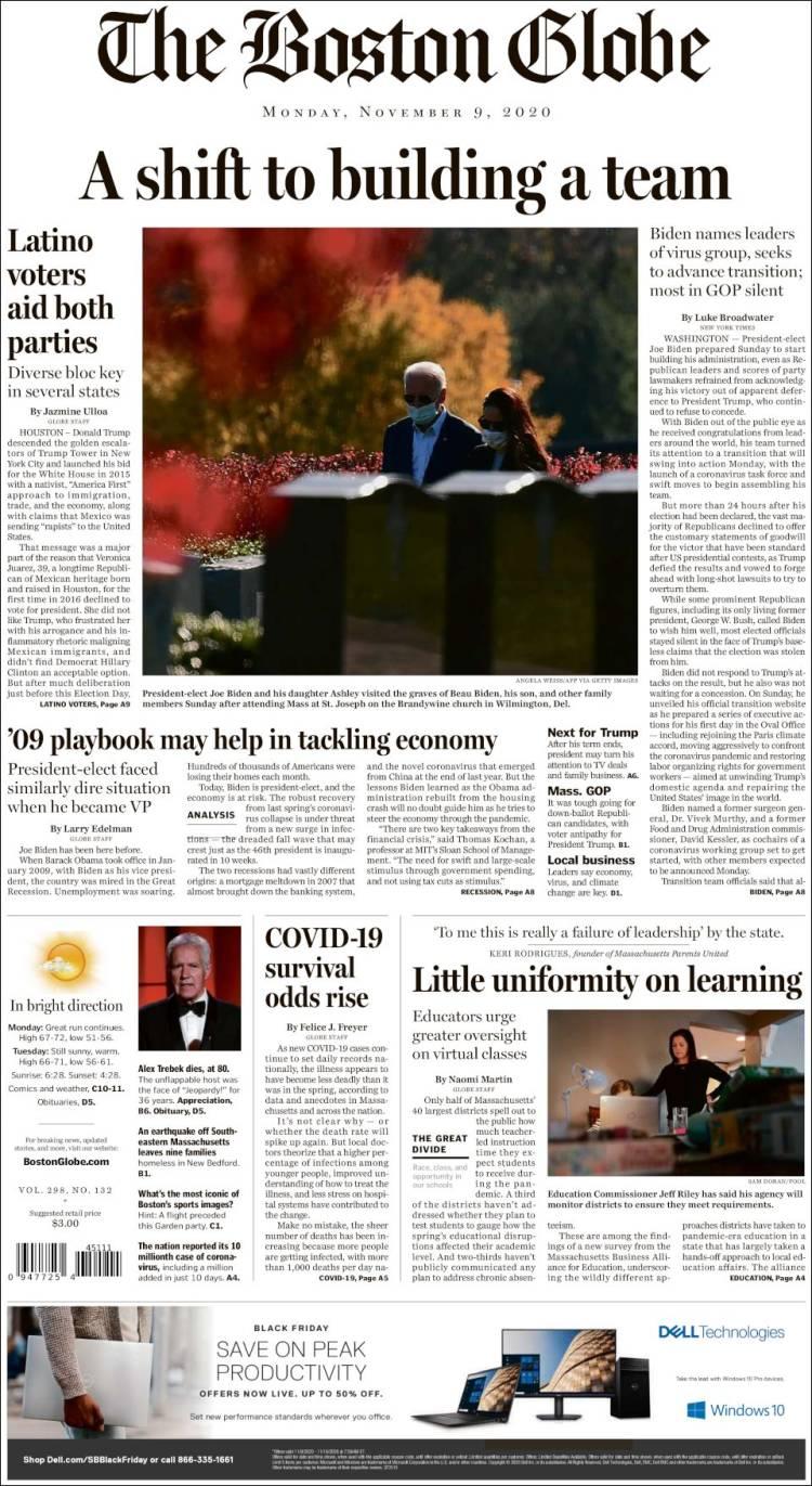 صفحه اول روزنامه بوستون گلوب/ چرخش به سوی تشکیل تیم