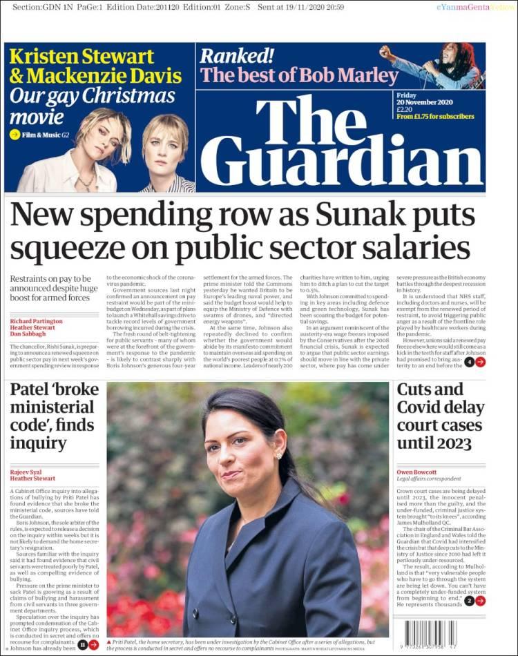 صفحه اول روزنامه گاردین/ کاهش بودجه و کووید پرونده های دادگاه را تا 2023 به تعویق انداخت