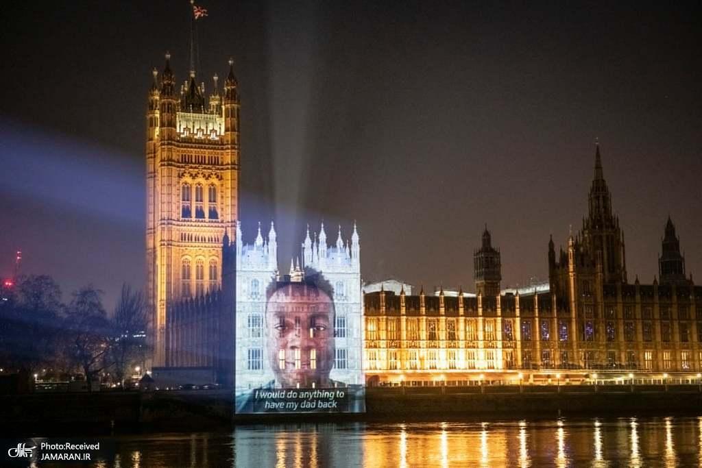 پخش تصاویر قربانیان کرونا روی ساختمان ها در انگلیس