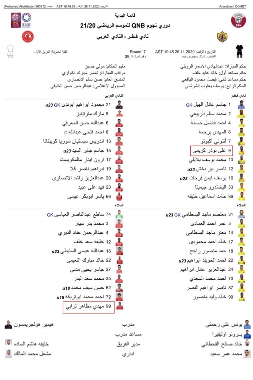 حضور علی کریمی در ترکیب القطر/ نیمکت نشینی ترابی برای العربی