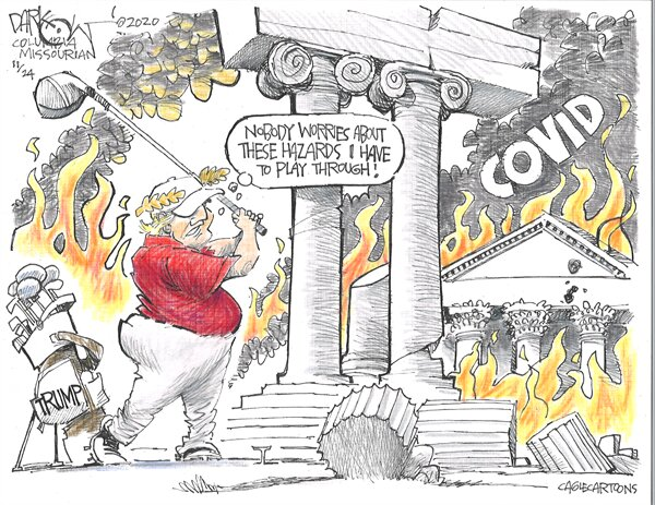 کارتون/ تنها کار ترامپ که هیچوقت تعطیل نمیشود