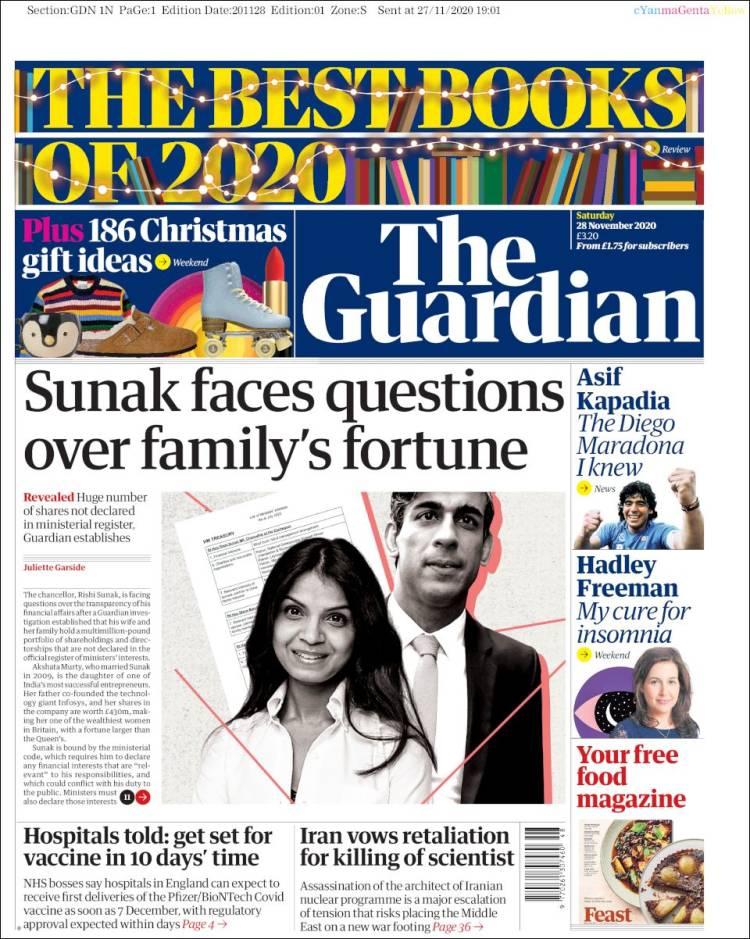 صفحه اول روزنامه گاردین/ ایران قول تلافی ترور یک دانشمند را داد