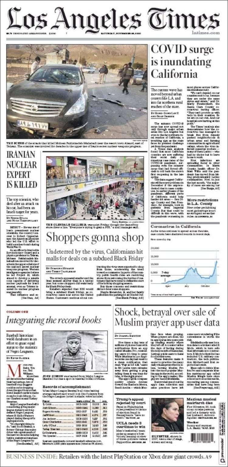 صفحه اول روزنامه لس آنجلس تایمز/ متخصص هسته ای ایرانی ترور شد