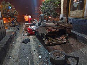 واژگونی خودرو پژو ۴۰۵ با ۱۴ مصدوم در کاشان