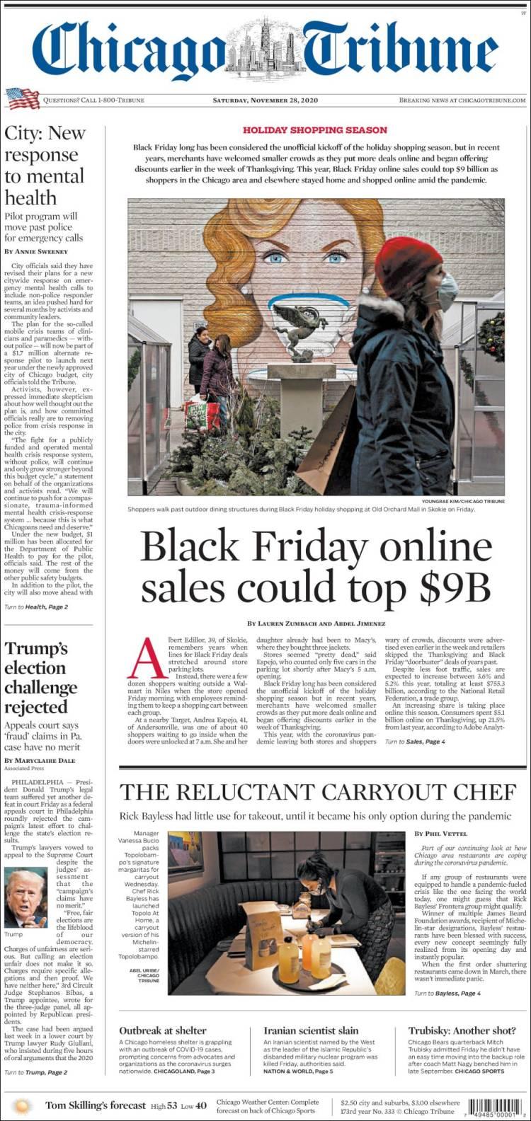 صفحه اول روزنامه شیکاگو تریبون/ فروش آنلاین جمعه سیاه می تواند از 9 میلیارد دلار فراتر رود