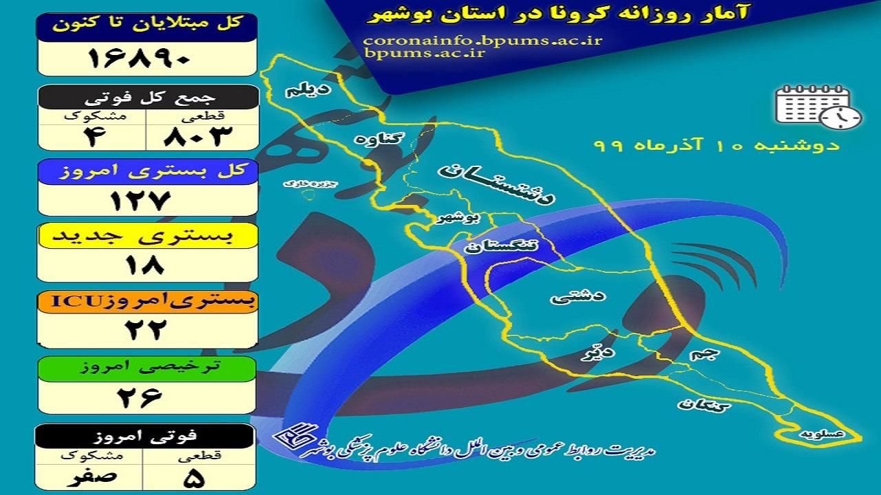 اینفوگرافی پراکندگی مبتلایان کرونا در استان بوشهر