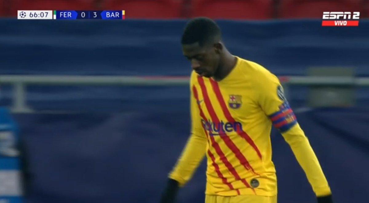 رسیدن بازوبند کاپیتانی بارسلونا به عثمان دمبله در جریان بازی با فرانس واروش