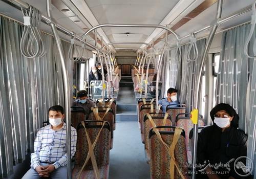 انجام علامتگذاری اجتماعی در اتوبوسهای شهری اهواز