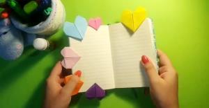 آموزش نشانگر کتاب قلبی با کاغذ و تکنیک اوریگامی