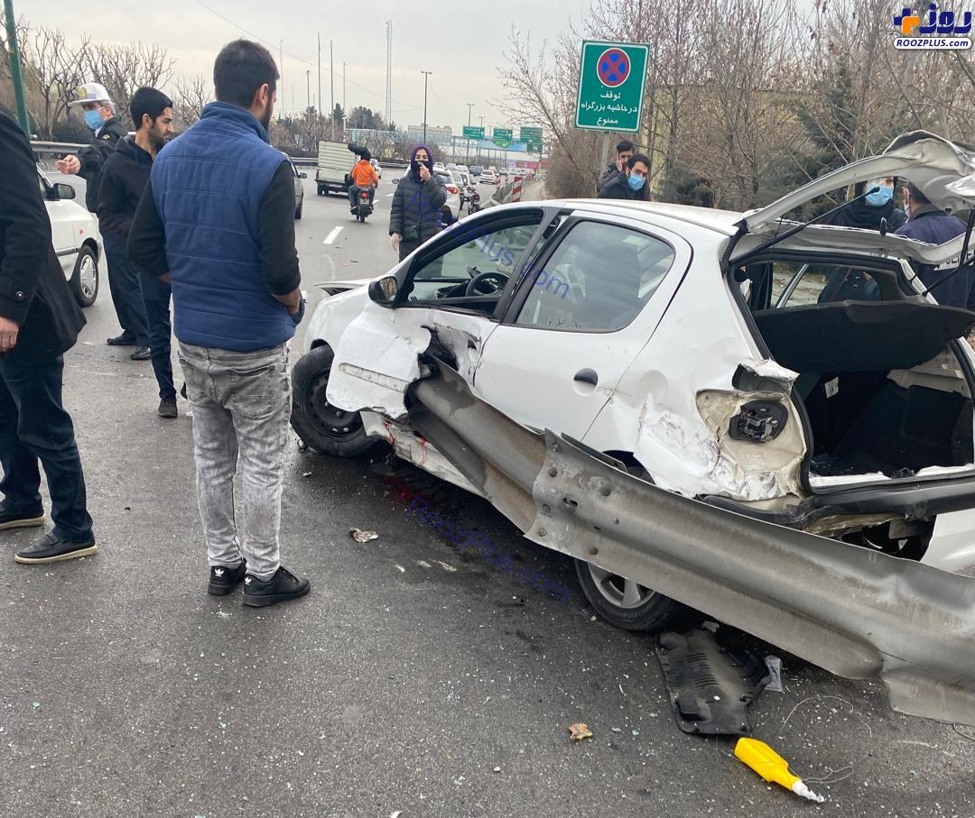 تصویری دلخراش از سانحه رانندگی؛ قطع دوپای راننده ۲۰۶!(14+)