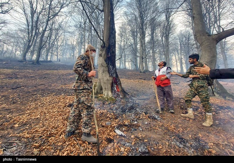 عکس/ تلاش برای مهار آتش سوزی در جنگلهای اشکورات گیلان