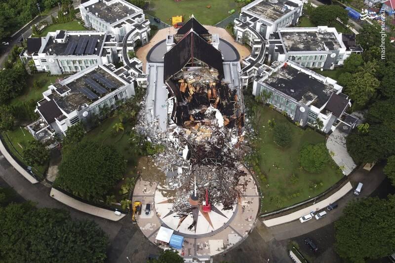تصاویر هوایی از خسارت زلزله در اندونزی