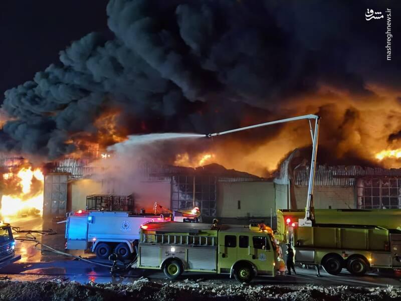 آتش سوزی انبارها در عربستان