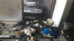 نجات مادر و فرزند ساروی از میان آتش و دود