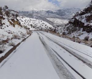 بارش برف جادههای زنجان را فرا گرفت