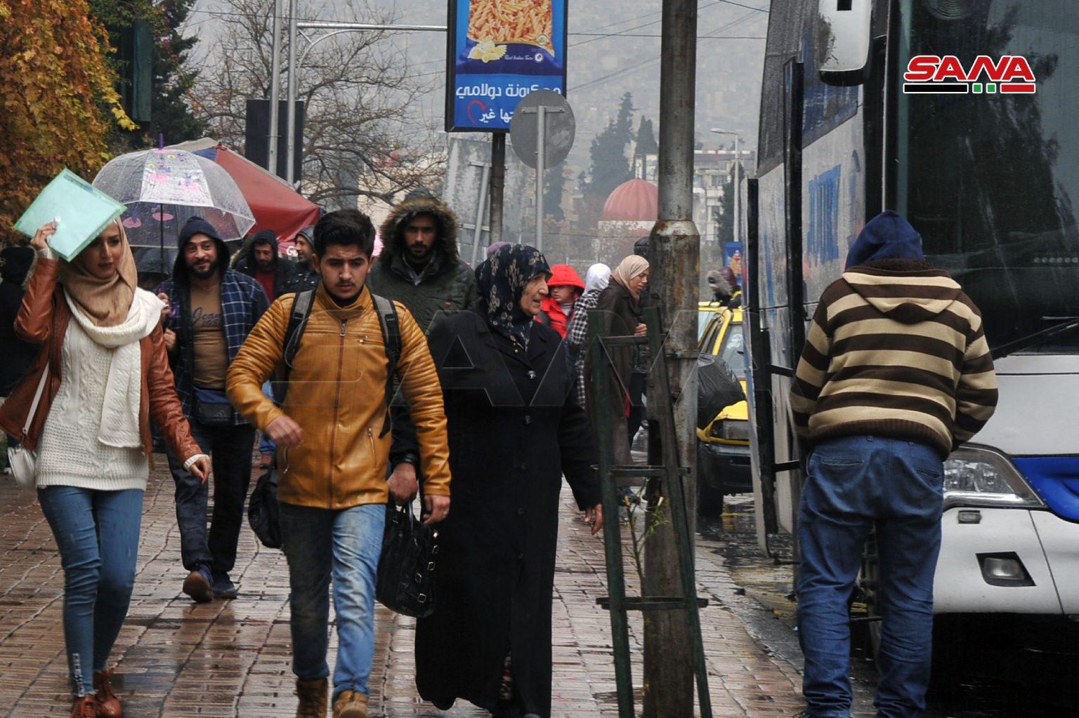 بارش باران در دمشق