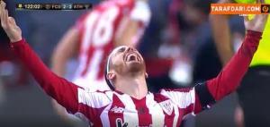 خوشحالی بازیکنان اتلتیکبیلبائو پس از سوت پایان بازی